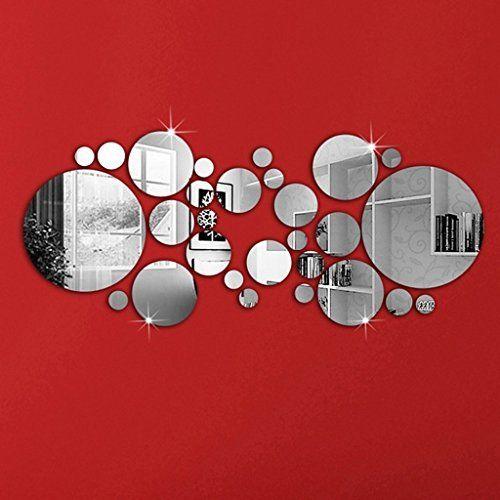30pcs Autocollant Mural Rond Amovible Style Miroir Decoration Pour Maison Amazon Fr Cuisine Maiso Decorer Miroir Autocollant Mural Decoration Murale Miroir