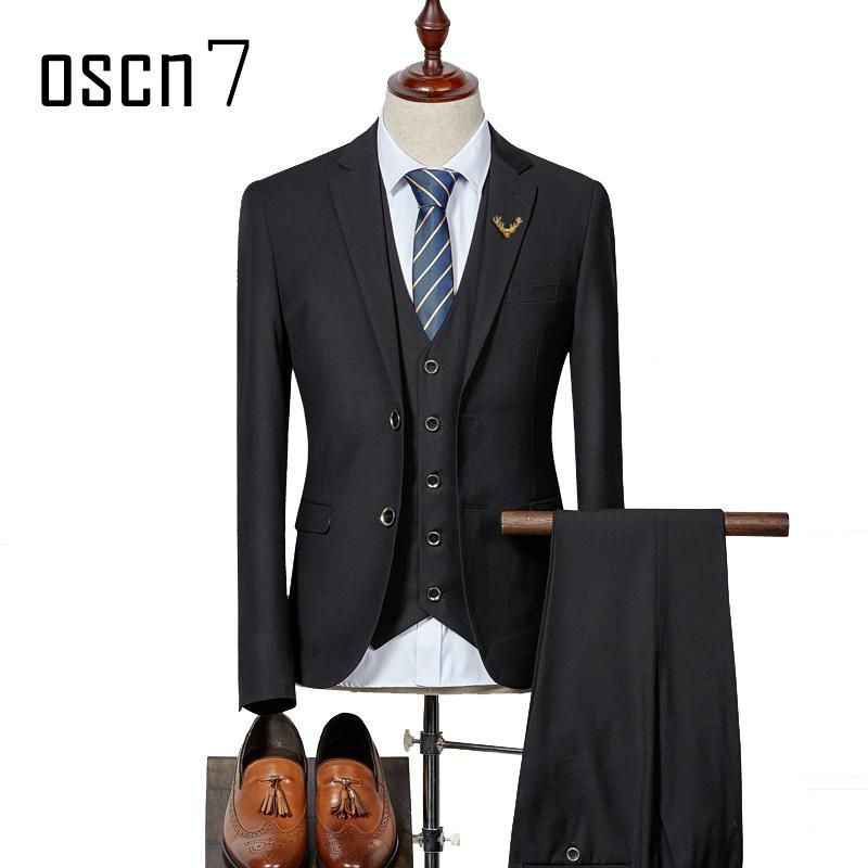 72ea0ee7780 OSCN7 3 Pcs Solid Wedding Suits for Men 2017 Latest Coat Pant Designs  Costume Mariage Homme Business Suit Men Slim Fit S-3XL. Yesterday s price   US  137.00 ...