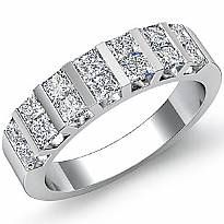 Princess Cut Diamond Bar Set Women's Wedding Band Ring in 14k White Gold 1.15Ct