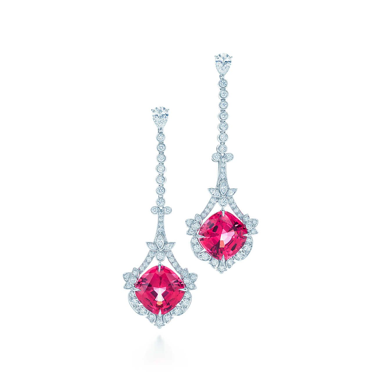 Earrings in platinum with red spinels and diamonds.