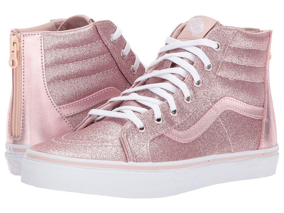 b8d573149c Vans Kids Sk8-Hi Zip (Little Kid Big Kid) Girl s Shoes (Glitter + Metallic)  Blush