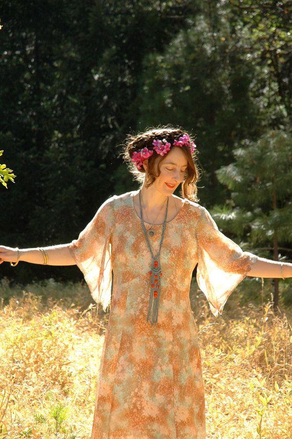 Vintage 1970s Pastel Floral Dress... Sheer by AstralBoutique, $48.00