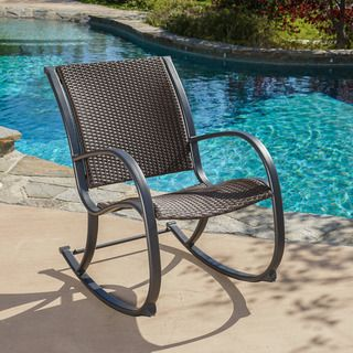 Christopher Knight Home Gracie's Outdoor Wicker Rocking Chair | Overstock.com Shopping - The Best Deals on Sofas, Chairs & Sectionals