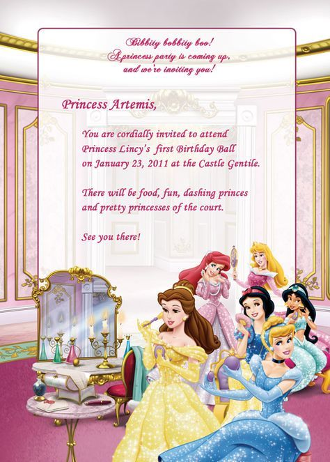 Disney Princesses Birthday Party Invitation