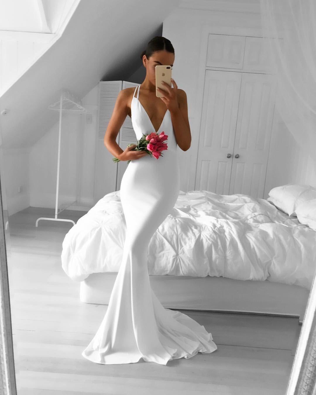 White mermaid prom dressdeep v prom dressfashion prom dresssexy