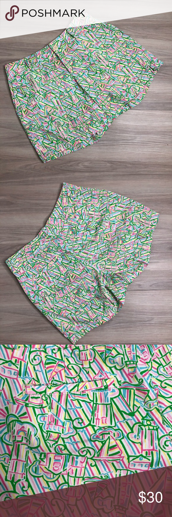 Lilly Pulitzer pink & green print shorts, size 6 L