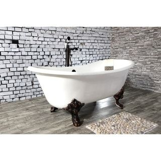 Photo of 67-in Cast Iron Double Slipper Clawfoot Tub (No Faucet Drillings) (Brushed Nickel), Kingston Brass