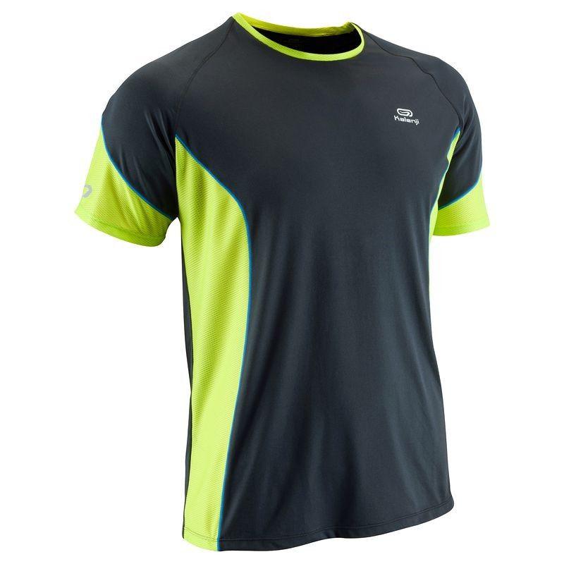 Erkek Sıcak Hava Koşu Kıyafetleri Koşu - Eliofeel Erkek Koşu Tişörtü-Gri/Yeşil KALENJI - Koşu Kıyafetleri