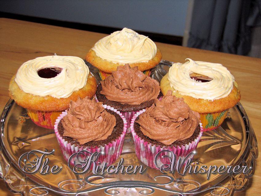 The Kitchen Whisperer Dark chocolate cream cupcake with a dark chocolate espresso buttercream