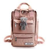 Photo of College Style Solid Color Waterproof Nylon Women Backpack Cu …