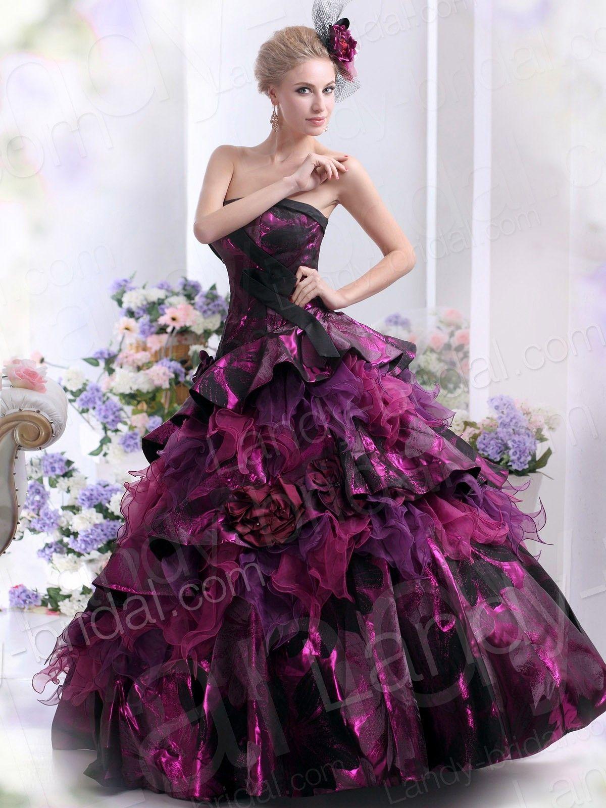 Ball gown strapless floor length tulle grape wedding dress jp
