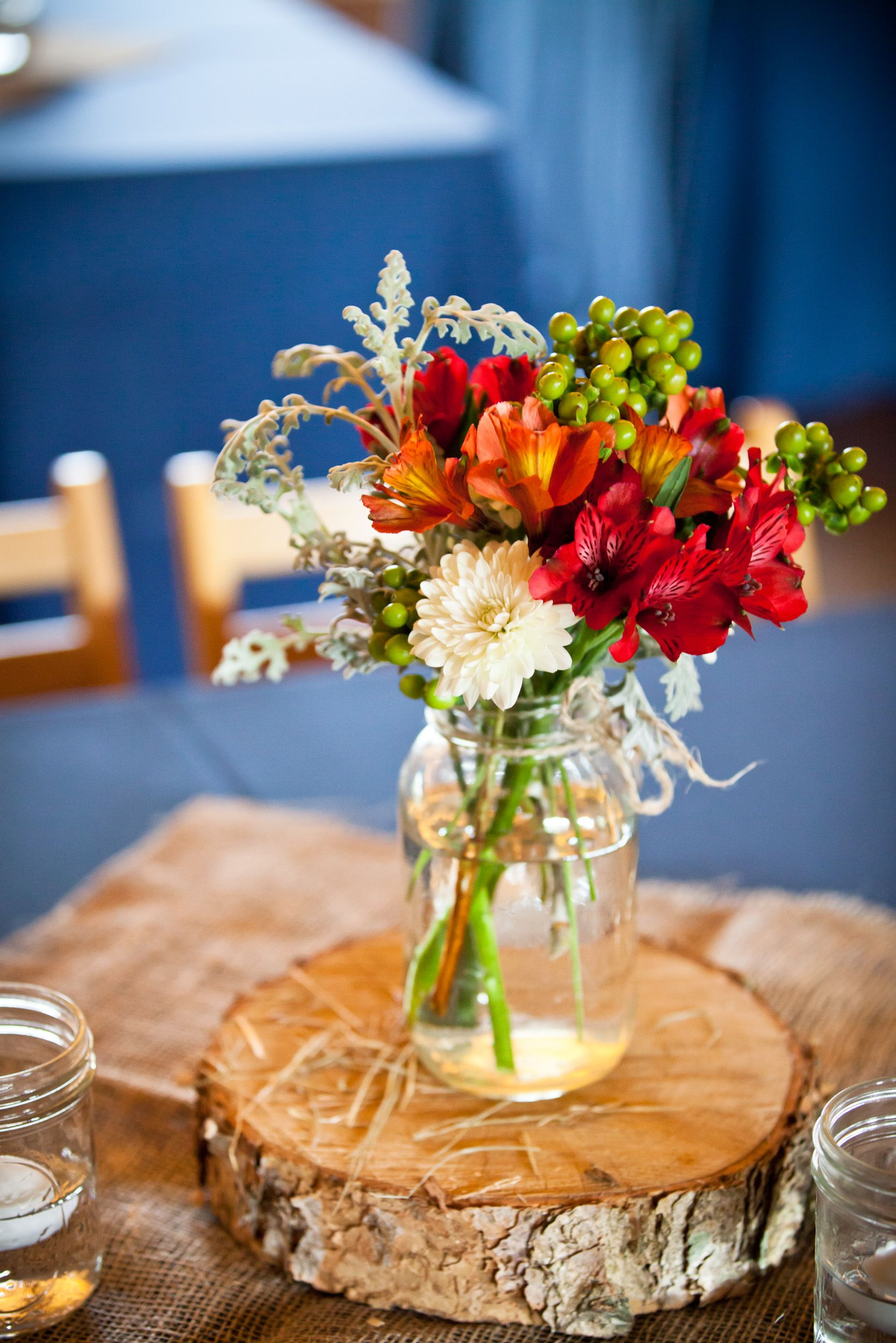 Rustic Centerpieces Without Flowers : Southern rustic wedding mason jar centerpiece masonjars