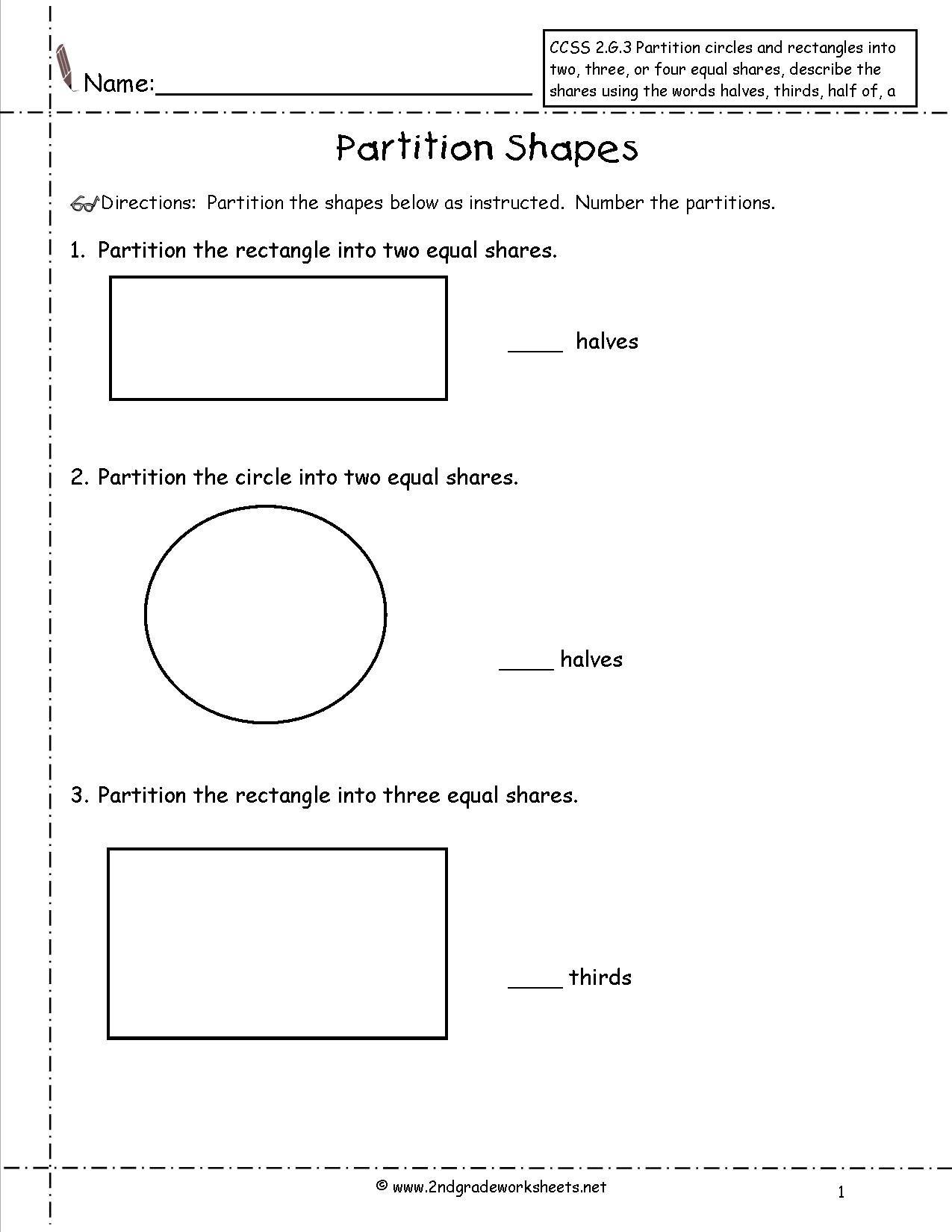 Dividing Shapes Into Equal Parts Worksheet Google Search