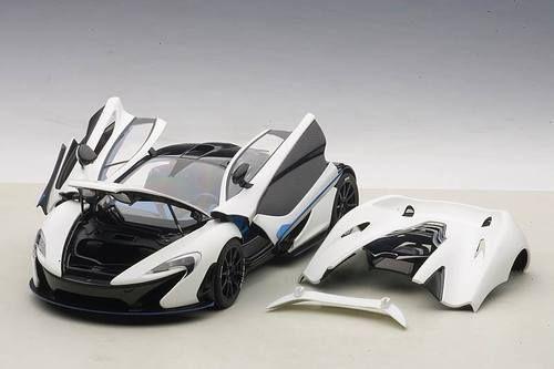 Autoart 1 18 Scale Mclaren P1 Matt White With Blue Accents Composite Diecast Car Mclaren P1 Diecast Cars Diecast