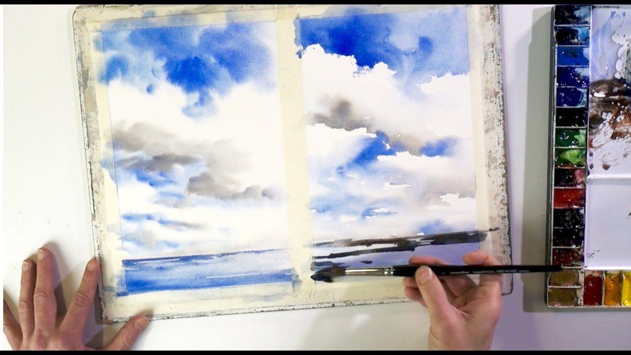 Wolken Ganz Einfach Aquarellieren Lernen 1 Youtube Wolken Malen Malen Lernen Aquarell