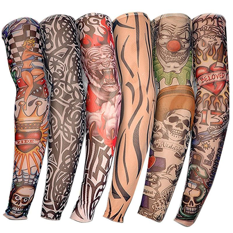 Apparel Accessories Men's Arm Warmers High Quality 20 Pcs Temporary Fake Slip On Tattoo Arm Sleeves Kit Summer Unisex Fashion Arm Stockings Body Art Accessories