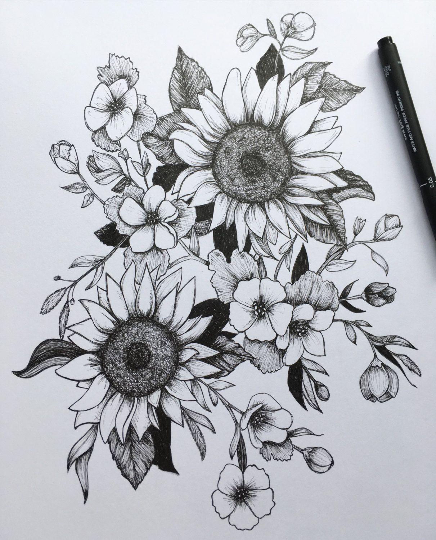 Pen and ink flowers a art print i n k e d pinterest