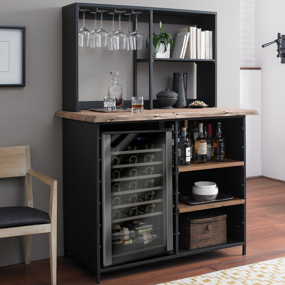 Morgon Live Edge Metal And Wood Wine Bar With Wine Refrigerator Wine And Coffee Bar Wine Fridge Cabinet Wine Furniture