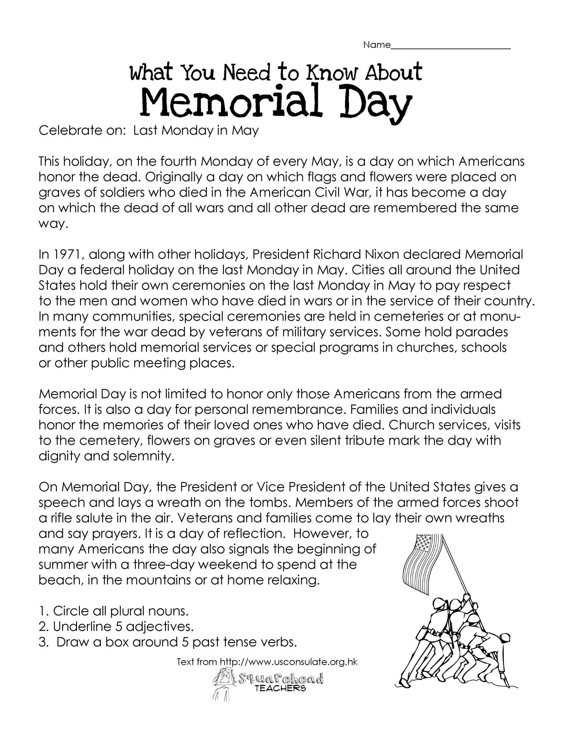 Memorial Day Worksheets For Kindergarten Memorial Day Free