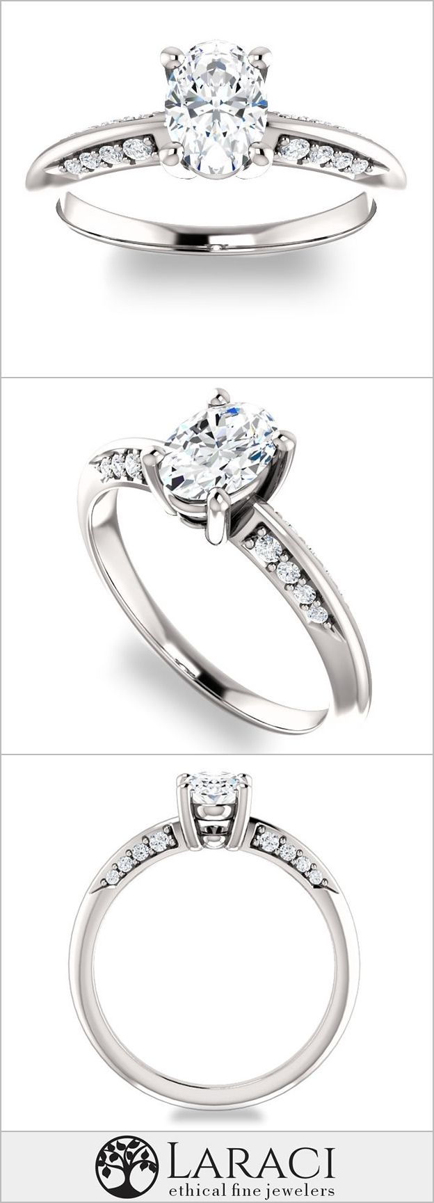 K white gold knife edge engagement ring with sidestones set with a