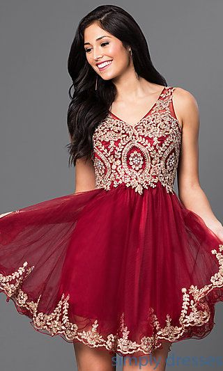 170408eee0c0 Shop embellished-bodice homecoming dresses at Simply Dresses. Short  sleeveless semi-formal v-neck dresses for parties in misses and plus sizes.
