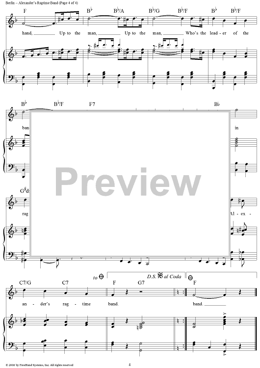 alexanders ragtime band sheet music preview page 4 - When Christmas Comes To Town Chords