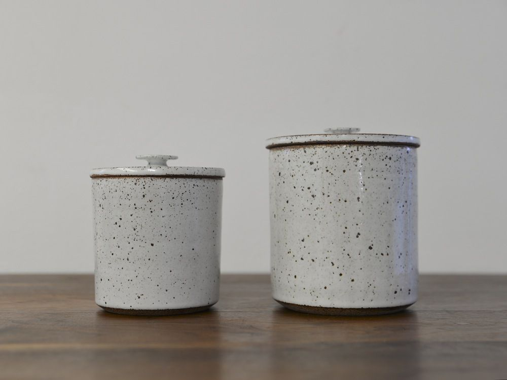 Image of White Speckle Canister