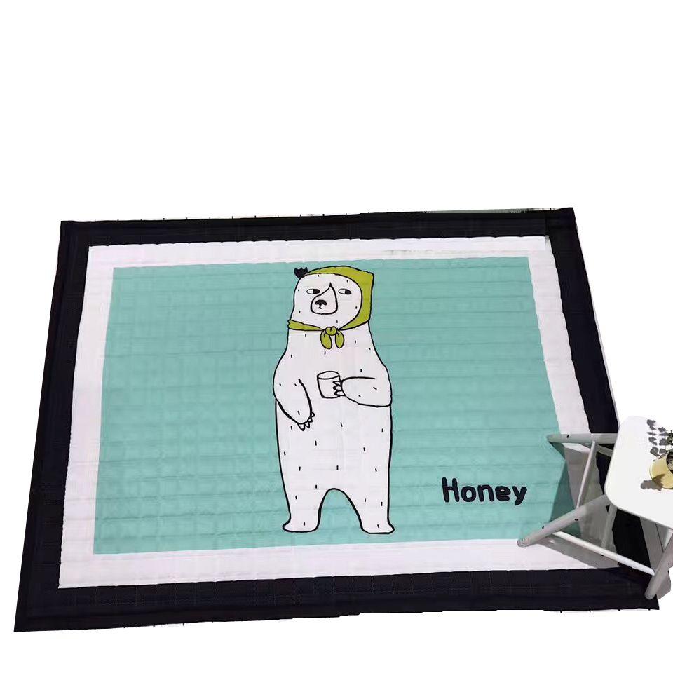 Kids mat white bear print rug quilted blanket on floor antislip climb mat for bedroom kids living room cartoon fox/145*195cm