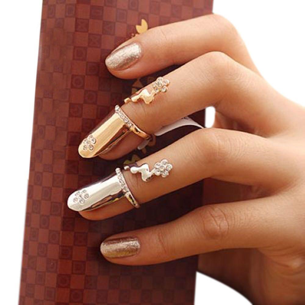 Mode Personalisierte Punk Kristall Diamant Blume Finger Ring Nagel ...