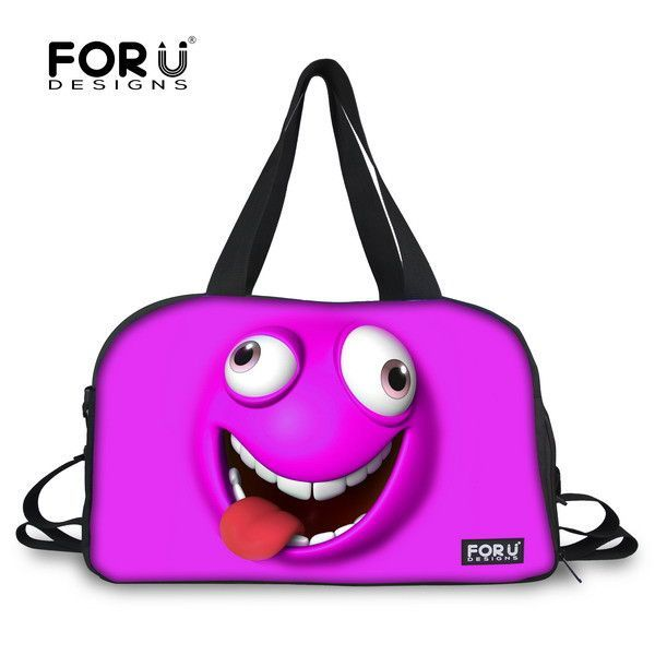 FORUDESIGNS Funny Emoji Travel Bags Women Travel Handbag High Quality  Smiley Face Luggage Tote Female Carry On Travel Duffle Bag a484151607088
