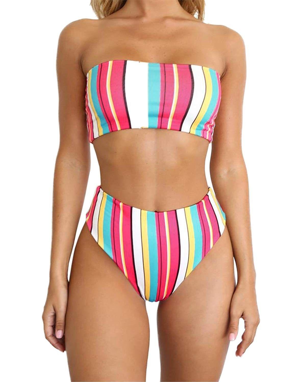 Women's Padded Tube Tops Strapless Bathing Suit Swimwear Bikini Set - C018QSNEI4A - Sports & Fitness...