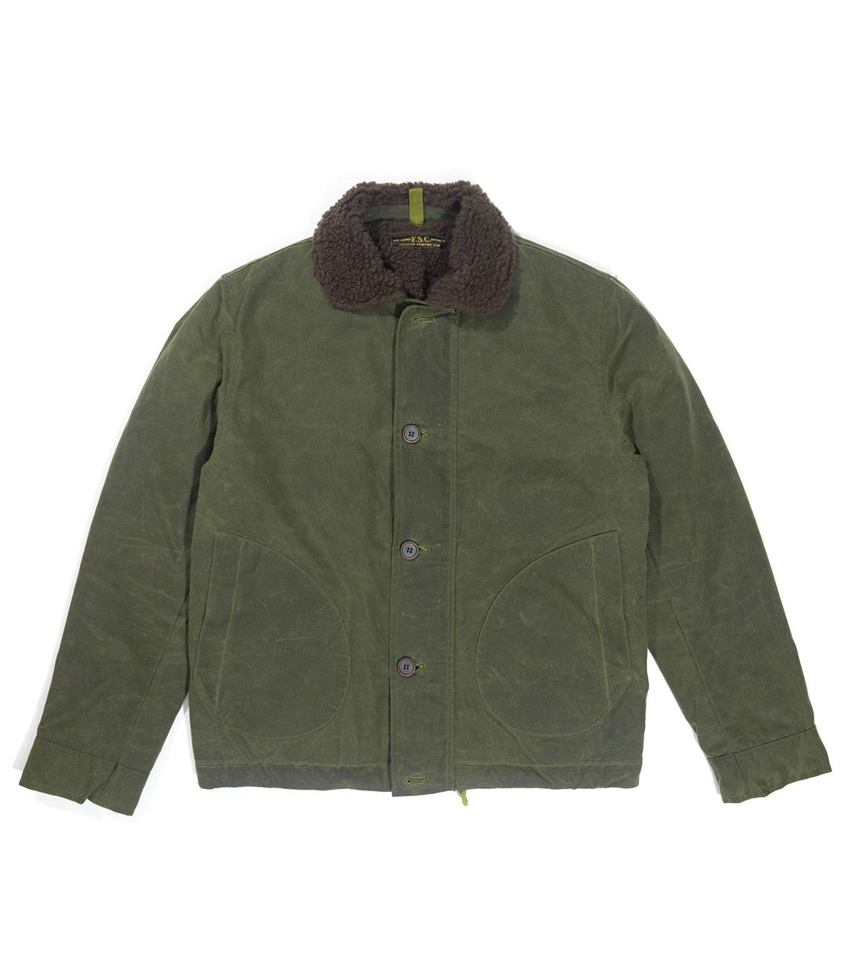 Waxed Cotton Deck Jacket with Alpaca Pile Lining