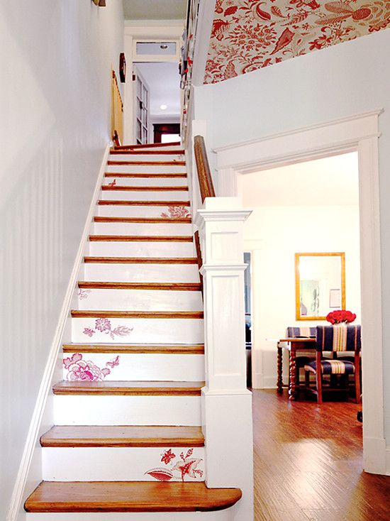 Stenciled Stairs Awesome Idea For When We Redo The Basement So Its A Bit Cozier Lynsey Peterson Loposky Stenciled Stairs Staircase Design Stairs Design
