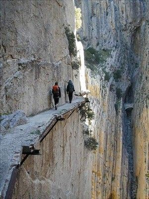 El Caminito del Rey (The King's little pathway), Álora, Málaga Province, Spain - is a walkway pinned along the steep walls of a narrow gorge in El Chorro, now fallen into disrepair.