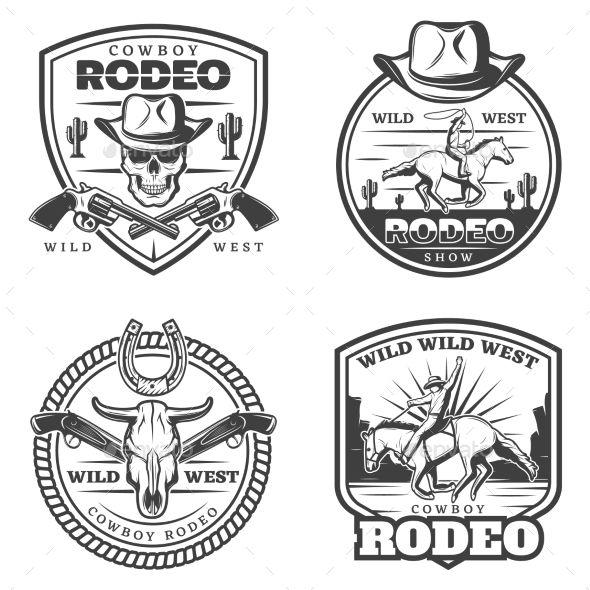 Monochrome vintage rodeo emblems set with cowboy riding