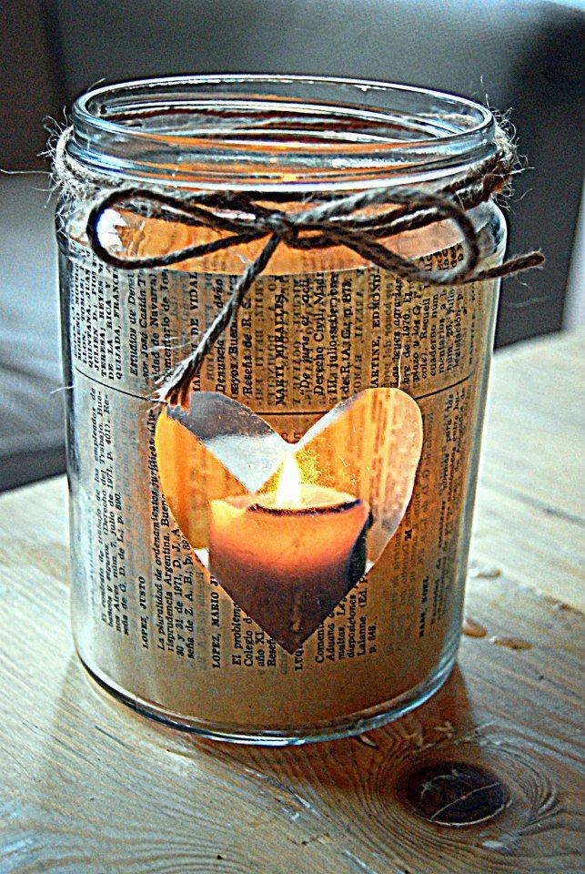 Frascos portavelas, $50 en    ofeliafelizar Con velas