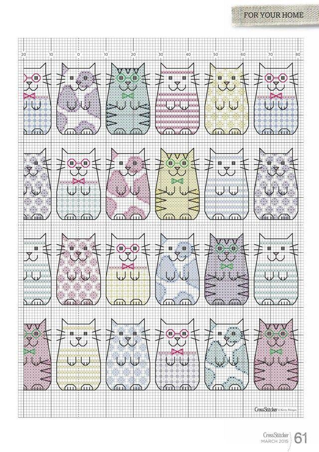 Котики   Вышивка   Pinterest   Knüpfen, Stricken häkeln und Vorlagen
