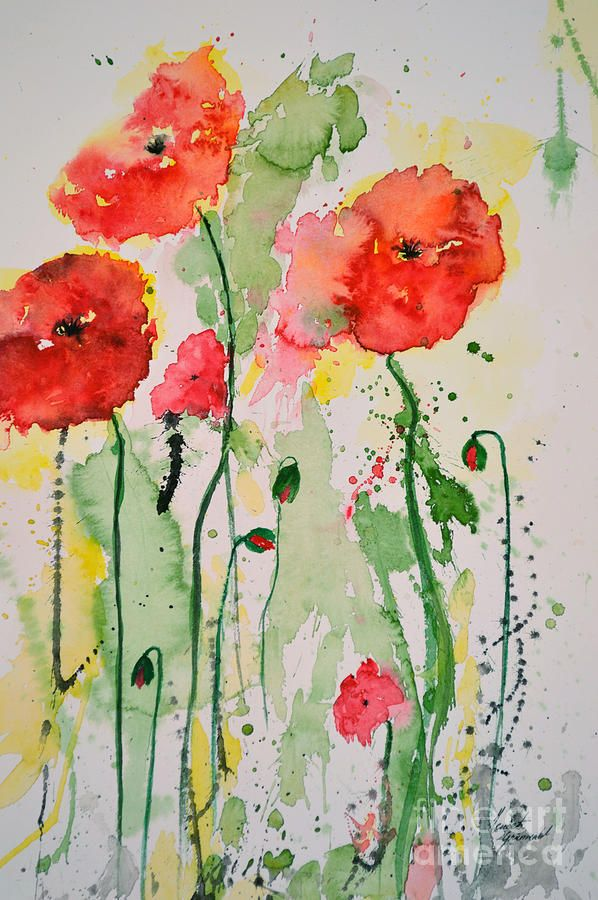 Tender poppies flower painting wall art pinterest watercolor tender poppies flower painting mightylinksfo Image collections