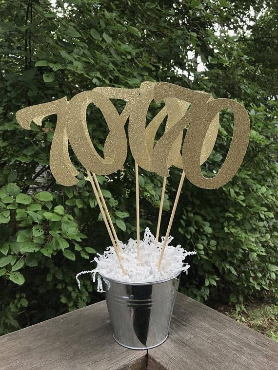 70th Birthday Centerpiece Sticks Glitter Decoration Table Decorations