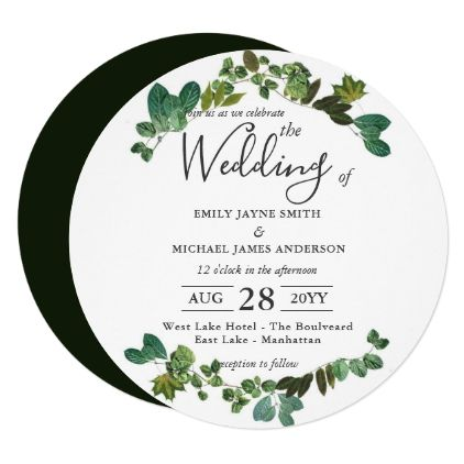 Round Wedding Invitation Green Leaf Wreath Elegant Script Gifts Template Templates Diy Customize Personalize Special