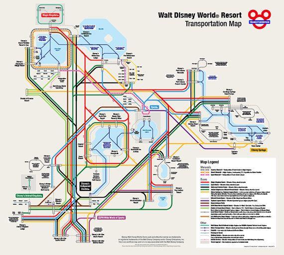 Walt Disney World Transportation Map in Metro Style | home ...