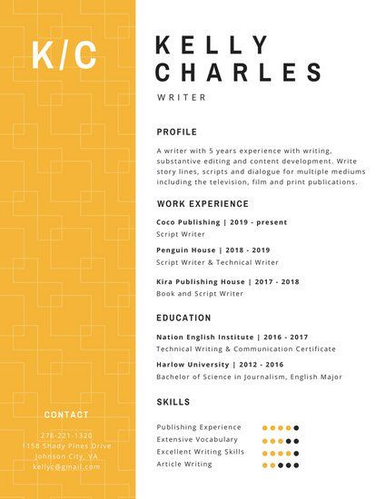 Simple Resumes That Work Best Yellow Square Pattern Corporate Resume  Work  Pinterest  Simple .