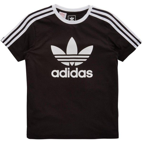 358c3c162f Adidas Originals Adidas Originals Older Girls 3 Stripe Tee ($25) ❤ liked on  Polyvore featuring tops, t-shirts, shirts, striped t shirt, striped top,  adidas ...