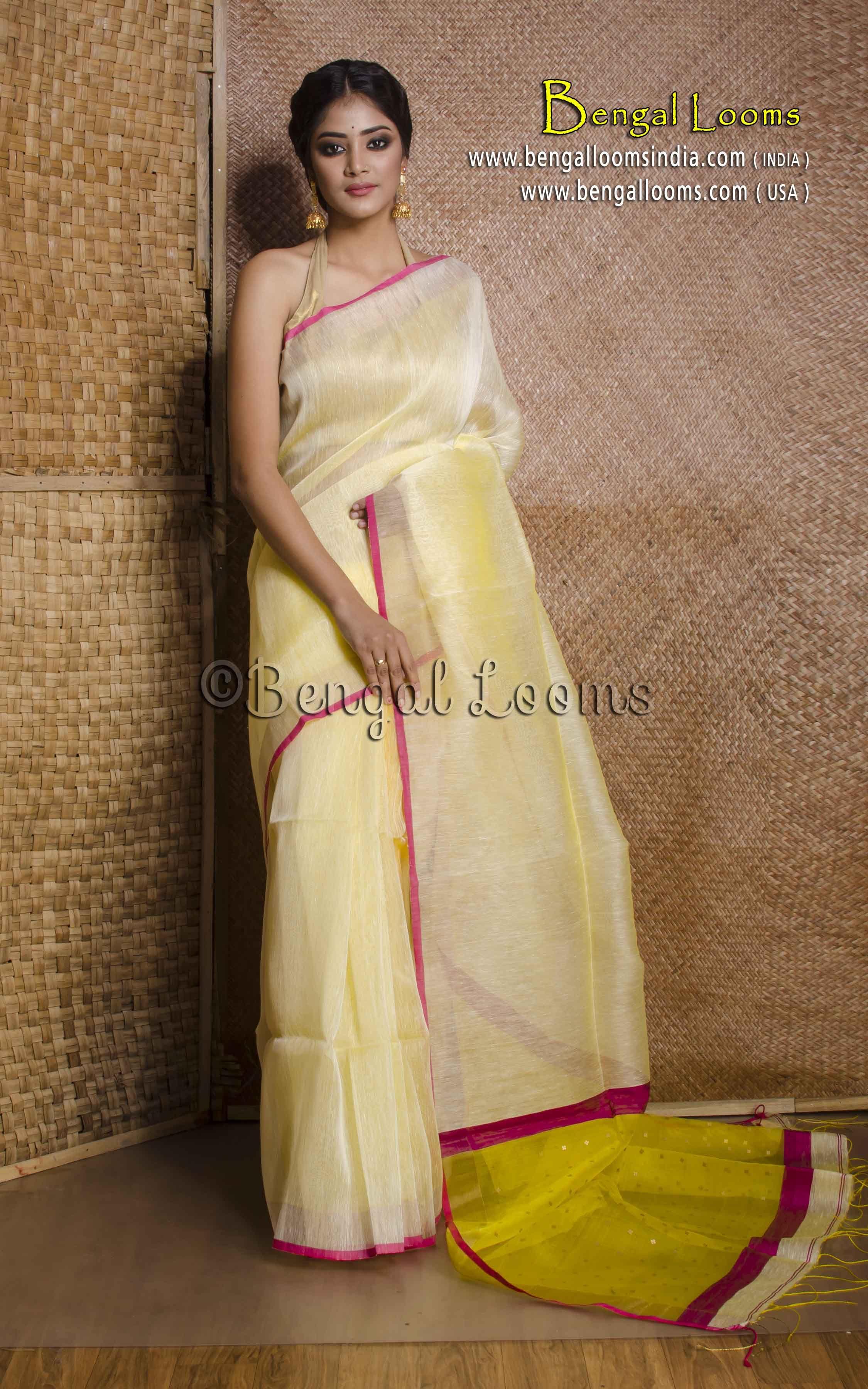 a0f9fe8d4b8a83 Pure Handloom Silk Linen Saree in Light Butter Yellow with Sequin Work On  Pallu