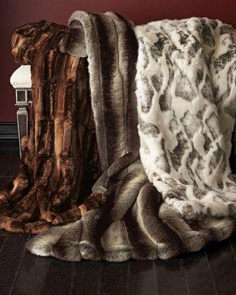 Sweet Dreams Faux Fur Coverlets Neiman Marcus Master