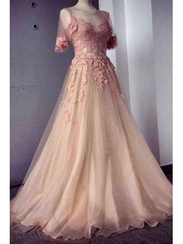 lange Abendkleider Ballkleider perlen rosa | Kleider | Pinterest ...