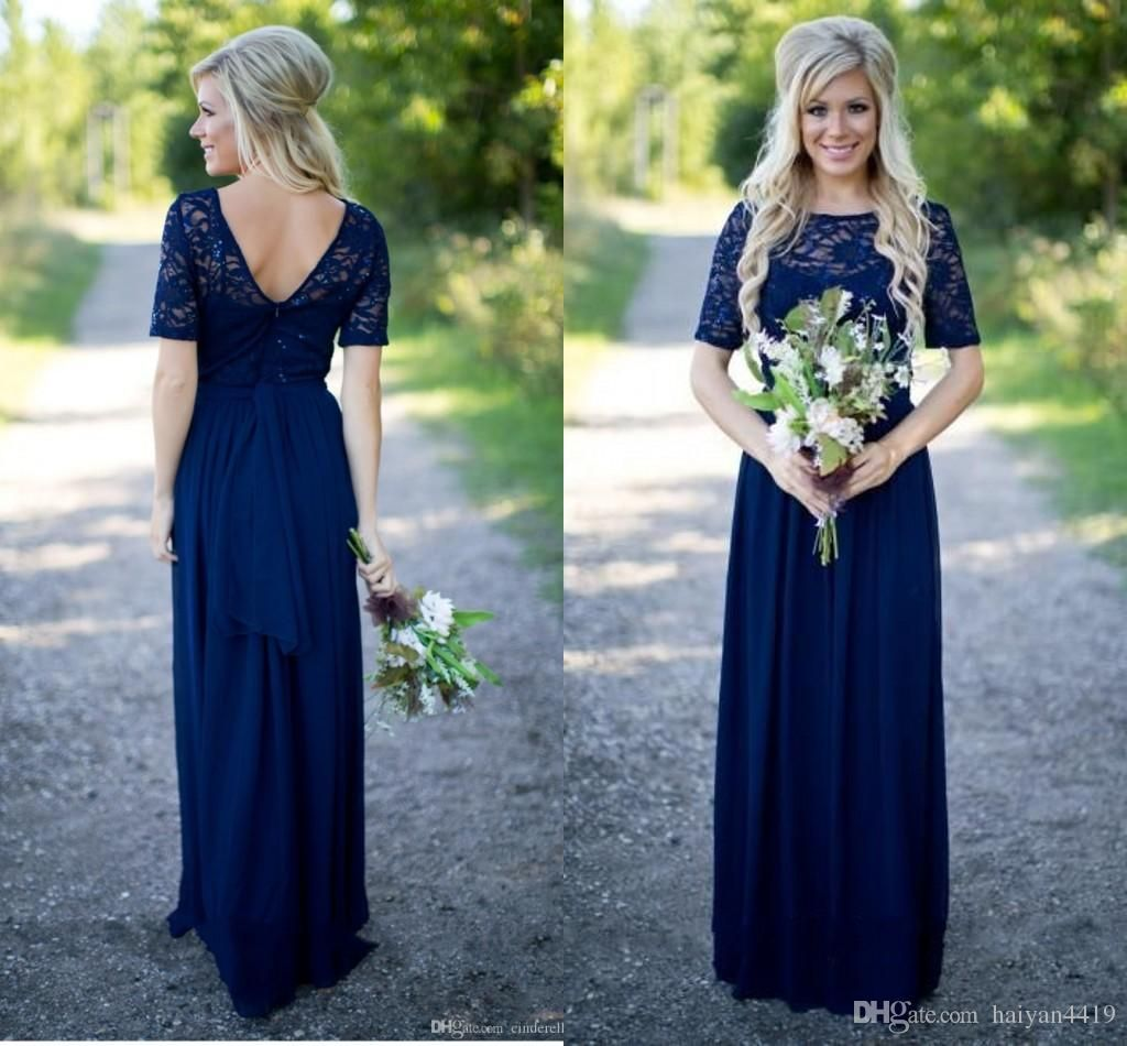 Country Bridesmaid Dresses 2016 New Hot Long For Weddings Navy Blue Chiffon Short Sleeves Illusion Lace Beads Floor Length Maid Honor Gowns Online With