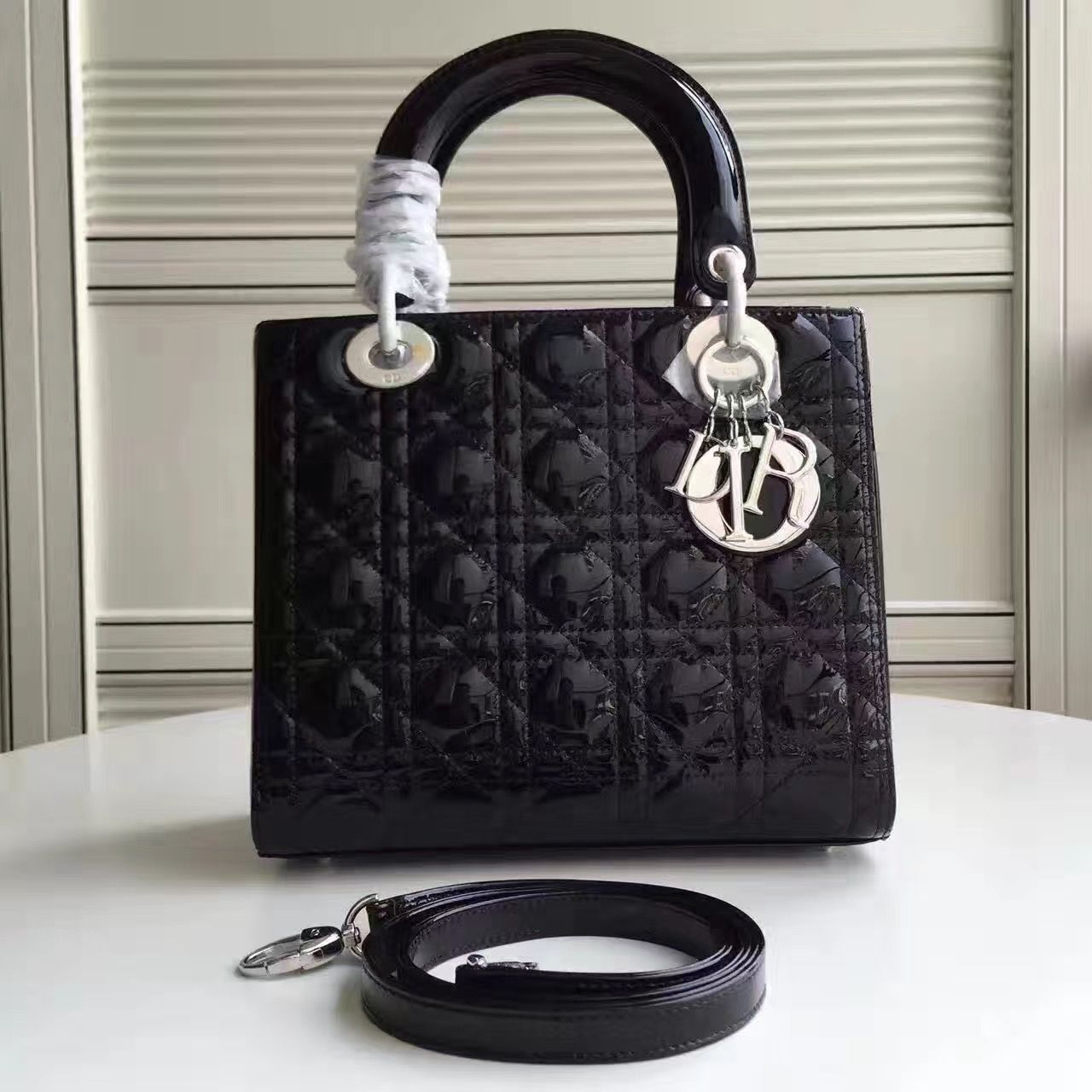 Dior Lady Dior Medium Patent Leather Bag in Black(Silver Hardware ... a4ceb4f23a3bd
