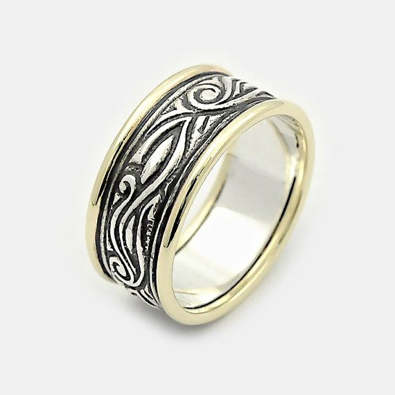 Mens Celtic Silver Gold Wide Ring Shop Our Pins Pinterest