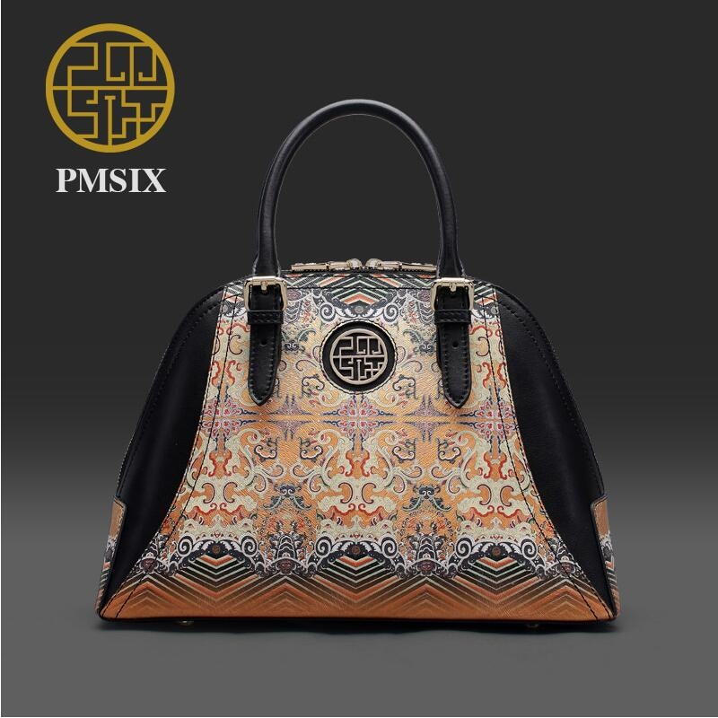 89.19$  Buy now - http://ali1up.worldwells.pw/go.php?t=32776792100 - Genuine Leather handbag  Pmsix 2016 new fashion shoulder Messenger Bag Ethnic wind handbag Chinese wind shell package